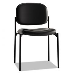 Basyx by Hon Black Leather Stacking Side Chair