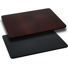 Pro-Tough Commercial Reversible Black Or Mahogany Rectangular Table Top