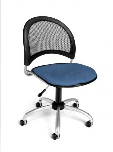 Designer Moon Swivel Task Chair with Mesh Back & Fabric Seat