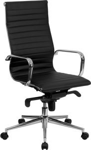 Modern High Back Office Chair with Chrome Base & Arms