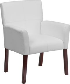 Mahogany & Leather Reception Side Chair with Box Stitching