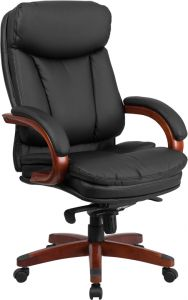 High Back Black Leather & Mahogany Wood Executive Office Chair