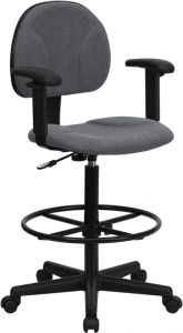 Adjustable Height Drafting Chair With Adjustable Foot Ring & Armrests