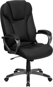 Overstuffed High Back Executive Office Chair with Built-In Lumbar Support