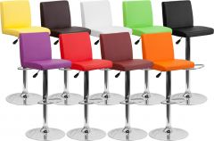 Modern Bar Stool with Adjustable Height & Chrome Finish