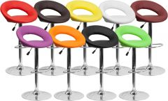 Unique Circle Seat Adjustable Height Swivel Bar Stool with Chrome Base