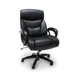 Executive Essentials Big & Tall 350 lb Black Leather Office Chair with Padded Arms