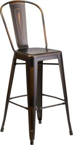 "HUSKY Seating® 500 LB Distressed Copper 30"" Restaurant Metal Bar Stool"