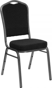 HUSKY Seating® 500 LB Commercial Fabric Banquet Stacking Chair with Silver Vein Frame