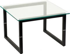 Contemporary Steel Frame Glass Top End Table