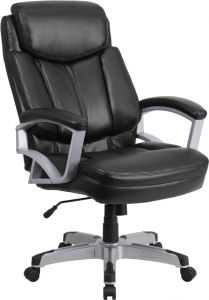 Heavy Duty 500 lb. Capacity Big & Tall Black Leather Office Chair with Lumbar Support