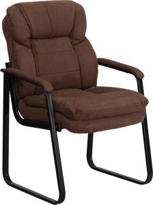 Executive Reception Side Chair with Microfiber Fabric & Sled Base