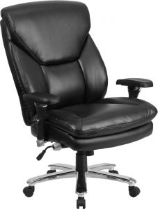 Extra Wide Big & Tall 24/7 400 Lb Black Leather Executive Office Chair