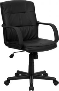 Mid-Back Eco-Friendly Black Leather Executive Office Chair