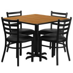 "HUSKY Seating® 36""W x 36""L Square Laminate X-Base Table Set With 4 Black Ladder Chairs"