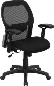 LF Series Black Executive Task Chair with Padded Seat & Black Base