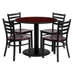 "HUSKY Seating® 36"" Round Mahogany Laminate Circular Base Table Set With 4 Cherry Ladder Chairs"