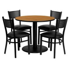 "HUSKY Seating® 36"" Round Natural Laminate Circular Base Table Set With 4 Black Vinyl Grid Back Chairs"