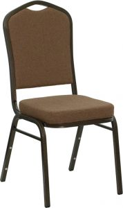 HUSKY Seating® 500 LB Coffee Brown Fabric Crown Back Banquet Chair with Gold Vein Frame