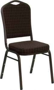 HUSKY Seating® 500 LB Brown Fabric Crown Back Banquet Chair with Gold Vein Frame