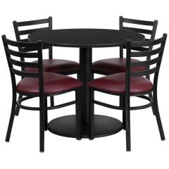 "HUSKY Seating® 36"" Round Laminate Circular Base Table Set With 4 Burgundy Ladder Chairs"