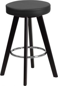 "Trenton Series Contemporary Vinyl 24"" High Stool With Cappuccino Wood Frame"