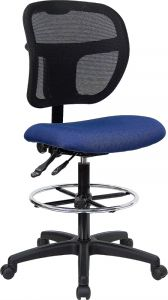 Ergonomic Mid-Back Mesh Drafting Stool with Fabric Seat & Lumbar Support