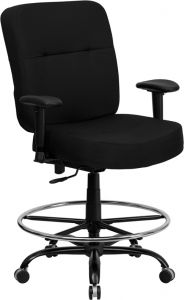 Heavy Duty 400 lb. Capacity Big & Tall Black Fabric Drafting Stool with Extra Wide Seat & Arms
