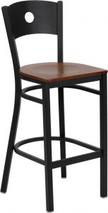 HUSKY Seating® Heavy Duty 500 LB Restaurant Bar Stool with Circle Back & Wood Seat