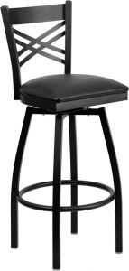 "HUSKY Seating® Heavy Duty 500 LB Restaurant Bar Stool with Swivel Seat & ""X"" Back"