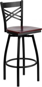 "HUSKY Seating® Heavy Duty 500 LB Restaurant Bar Stool with ""X"" Back & Swivel Wood Seat"