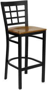HUSKY Seating® Heavy Duty 500 LB Metal Bar Stool with Window Back & Wood Seat