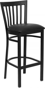 HUSKY Seating® Heavy Duty 500 LB Restaurant Bar Stool with School House Back & Padded Seat
