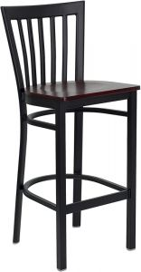 HUSKY Seating® Heavy Duty 500 LB Metal Bar Stool with School House Back & Wood Seat