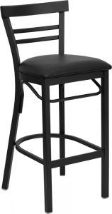 HUSKY Seating® Heavy Duty 500 LB Restaurant Bar Stool with Mid-Back & Padded Seat
