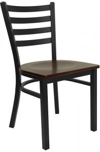 HUSKY Seating® Heavy Duty 500 LB Restaurant Chair with Black Metal Ladder Back & Wood Seat
