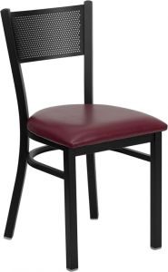 HUSKY Seating® Black Metal 500 LB Restaurant Chair with Grid Back Design