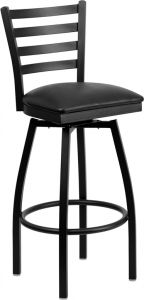 HUSKY Seating® Heavy Duty 500 LB Restaurant Bar Stool with Swivel Seat & Ladder Back