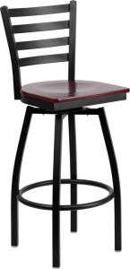 HUSKY Seating® Heavy Duty 500 LB Restaurant Bar Stool with Ladder Back & Swivel Wood Seat