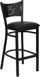 HUSKY Seating® Heavy Duty 500 LB Restaurant Bar Stool with Coffee Shop Design