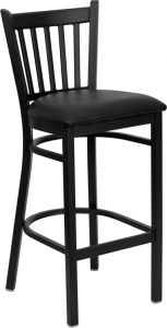 HUSKY Seating® Heavy Duty 500 LB Restaurant Bar Stool with Vert Back & Padded Seat