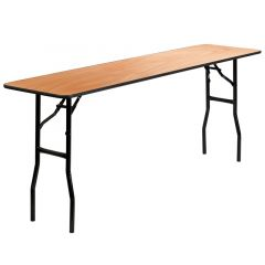 "Wood Folding Training Table with Clear Coated Top 18"" W x 72"" L"