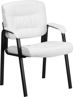 Amply Padded Leather Reception Side Chair with Padded Arms & Black Frame Finish
