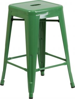 """HUSKY Seating® 500 LB Counter Height 24"""" Indoor-Outdoor Stacking Metal Bar Stool with Square Seat"""