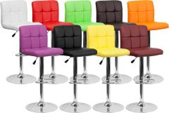 Small-Back Adjustable Height Bar Stool with Quilted Back & Chrome Base