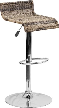 Low Back Wicker Adjustable Height Bar Stool