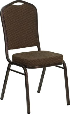 HUSKY Seating® 500 LB Brown Fabric Banquet Stacking Chair with Copper Vein Frame