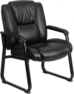 Ares 500 LB Capacity Big & Tall Padded Leather Executive Side Chair