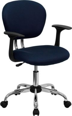 Contemporary Swivel Task Chair with Arms & Heavy Duty Chrome Base