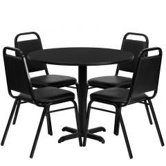 "HUSKY Seating® 36"" Round Laminate X-Base Table Set With 4 Black Banquet Chairs"